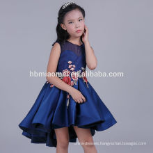 2017 elegant short front long back embroiedered birthday dress for girl of 7 years old